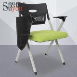 高檔摺疊培訓椅布面軟包座墊會議椅子旋轉可收小桌板
