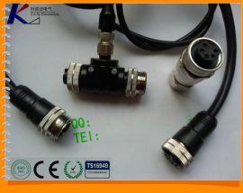 L20-3芯T型M12螺丝上线式 防水等级IP68防水连接器 航空插头