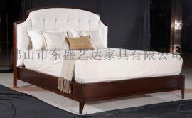 现代实木新美式床 主卧大床 布艺床