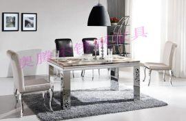 不锈钢家具, 现代家具, 简约时尚客厅家具T1699不锈钢大理石餐桌