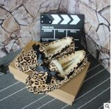 工廠直供5612豹紋  皮毛一體包子鞋 豹紋加厚羊毛豆豆鞋