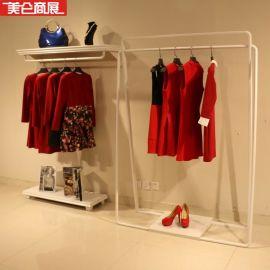 服装店装修铁艺衣架货架落地靠墙 欧式白色壁挂架女装店展示架