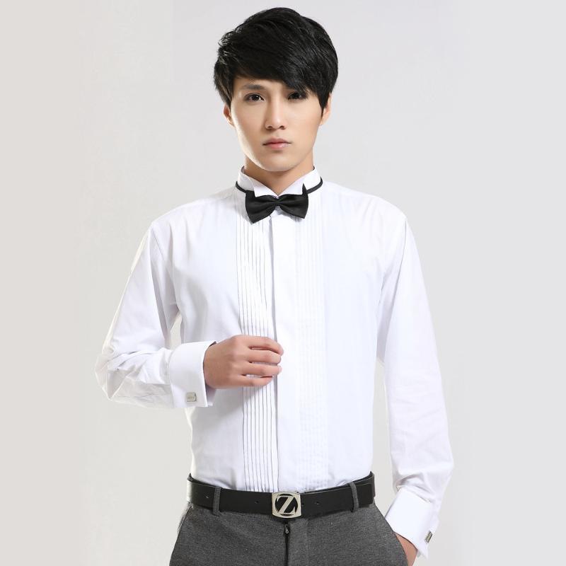 男士新郎结婚衬衫 燕子领长袖法式领结白色衬衣演出结婚伴郎衬衫