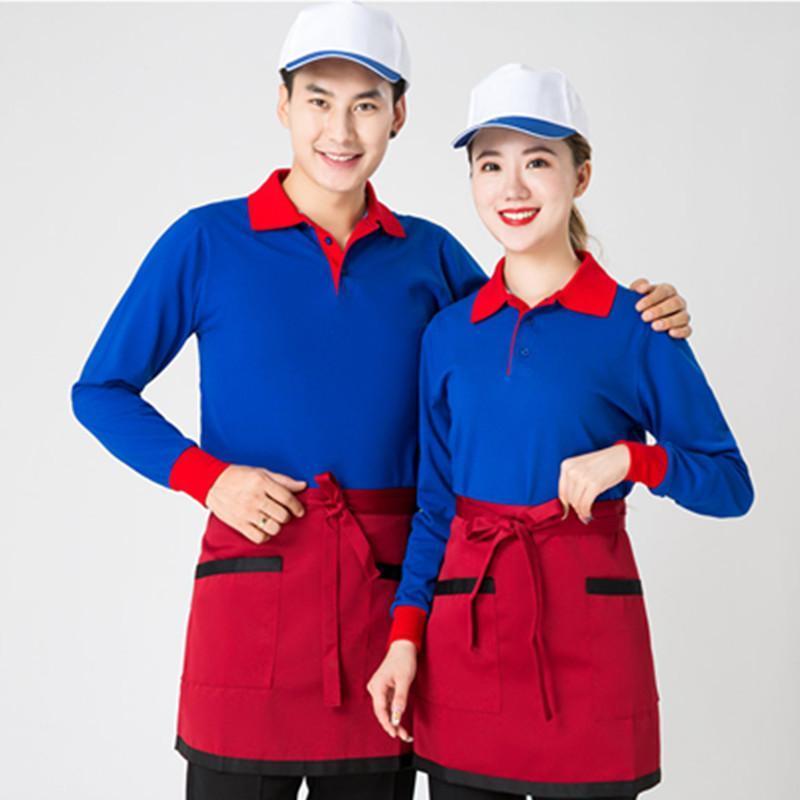 酒店服务员秋冬装女快餐蛋糕火锅店咖啡西餐厅餐饮工作服长袖工装