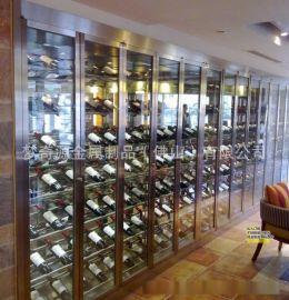 佛山**私人定制别墅藏酒创意展示架 不锈钢红酒酒架 酒柜