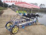 自然風新款20寸聯排四人自行車四輪觀光車景區出租雙人單車情侶車