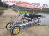 自然风新款20寸联排四人自行车四轮观光车景区出租双人单车情侣车