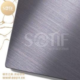 酒店装饰不一样的304 材质的不锈钢灰黑色拉丝板