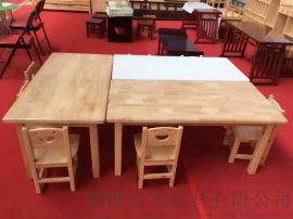 幼儿园实木桌椅 儿童实木课桌 幼儿实木课桌椅厂家