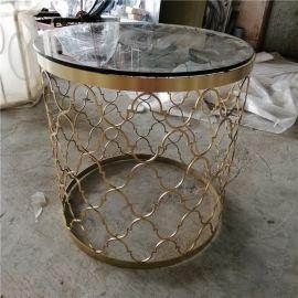 玫瑰金圆形茶几加工定制简约镂空玻璃角几定制厂家