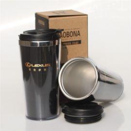 定制促销广告杯 双层外塑内钢杯 水杯茶杯子 定做杯体印广告