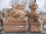 建宾雕刻厂现货供应晚霞红石雕貔貅