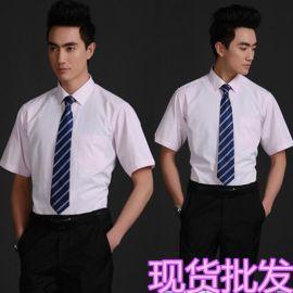 厂家定制商务男款抗皱纯色细斜纹淡粉色短袖衬衫印制刺绣店标logo