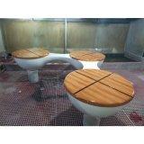 廠家定製木紋玻璃鋼休閒椅 戶外三人連體圓形休閒椅
