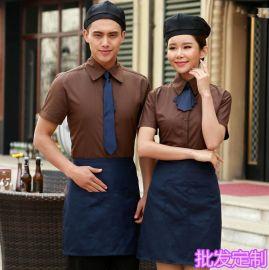 定做饭店服务员新款男女餐厅短袖酒店工作服西餐咖啡厅服刺绣LOGO