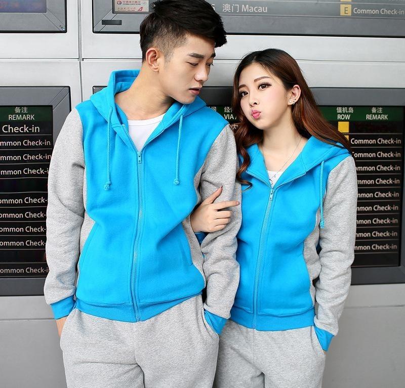廠家定做情侶開衫衛衣學生運動班服秋裝新款男女裝拼色外套