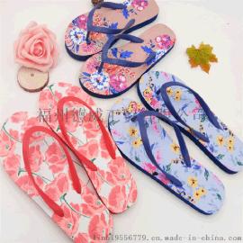 夏季新款戶外度假花朵人字拖時尚防滑室內拖個性休閒學生夾趾拖鞋