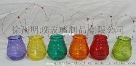 明政玻璃生产 各种玻璃烛台 铁丝提手 蜡烛杯
