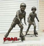儿童玩轮滑雕塑,轮滑少年雕塑