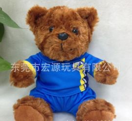 定制泰迪熊毛絨玩具 坐姿毛絨穿衣泰迪熊打樣