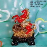 供应绒纱金双色摆件树脂工艺品生肖金马摆件销售
