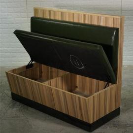 儲物卡座沙發定做,可以儲物的板式餐廳卡座沙發
