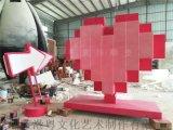 供应广西阳朔商场情人节主题美陈玻璃钢心形雕塑
