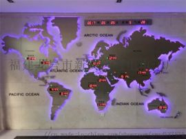 供时尚办公前台装饰—世界贸易网点地图屏案例