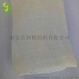 泰安润棉纺织厂家批发全竹纤维三层方格纱布坯布