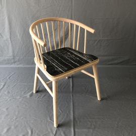 公主椅奶茶店咖啡厅圈椅实木扶手靠背餐椅白茬白胚