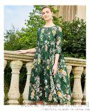 做服裝品牌折扣到哪余拿貨艾米塔寬鬆印花魚尾裙