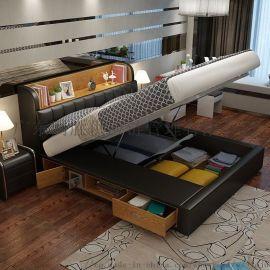 北欧折叠双人床 多功能抽屉高箱储物床公主床主卧婚床