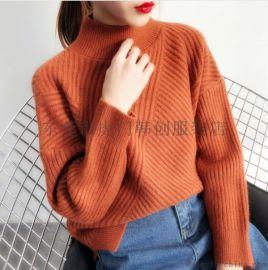 韩版女士毛衣套头时尚女士羊毛衫女装上衣几块钱毛衣清