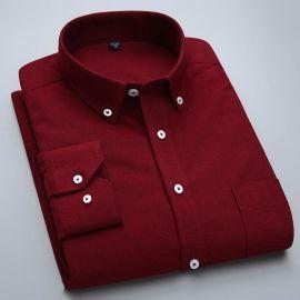 定做春装新款男长袖修身衬衫英伦纯色牛津纺时尚白衬衣
