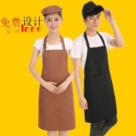 LOGO定制广告围裙工作服围裙男女酒店餐厅咖啡店服务员挂脖围裙