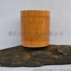 厂家专业定制天然原竹碳化竹子笔筒纪念笔筒礼品工艺笔筒