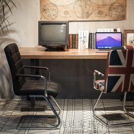 美式濃情鐵藝實木咖啡廳網吧家用電腦桌椅組合