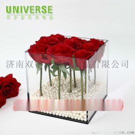 亚克力定做厂家亚克力永生花盒鲜花收纳盒9朵花