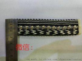 爆款鞋材编织25mm珠子亮片针织带