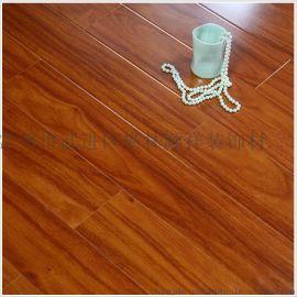 高光亮面环保耐磨红檀色木地板红象万家地板