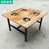 一人一鍋煤氣竈火鍋桌 碳燒實木鐵藝四六人火鍋桌椅
