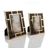 長方形金色邊框棕色油蠟皮不鏽鋼金屬相框擺臺擺件歐式現代美式