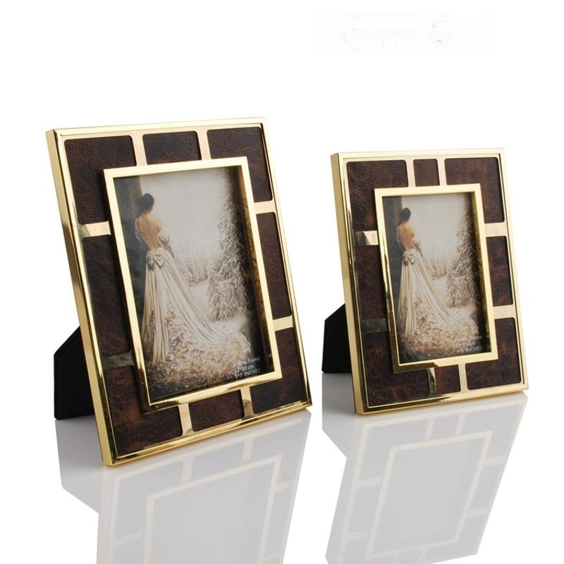 长方形金色边框棕色油蜡皮不锈钢金属相框摆台摆件欧式现代美式