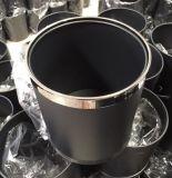 辦公室小垃圾桶 鋼圈黑色無蓋圓形衛生桶防鏽阻燃雙層廢物垃圾筒