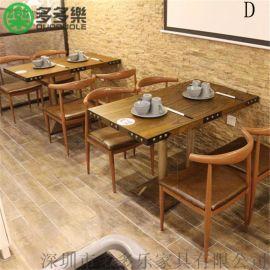 主题音乐餐厅桌椅 复古工业风餐桌椅 音乐餐吧家具