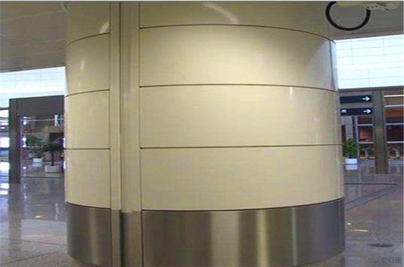 蓝色包柱铝单板 冲孔银色包柱铝单板
