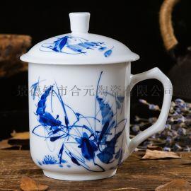 订制商务礼品手绘陶瓷茶杯,商务办公杯子三件套
