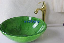 钢化玻璃洗漱盆 台上盆 艺术盆 洗漱盆 手绘盆 N-126