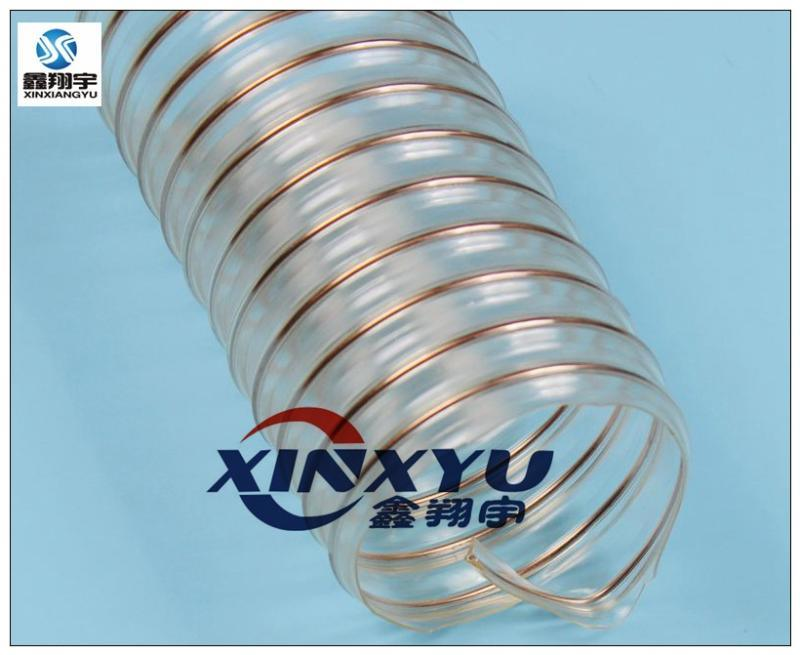 鑫翔宇/32mm耐磨pu聚氨脂镀铜钢丝工业吸尘器吸尘管/透明钢丝软管