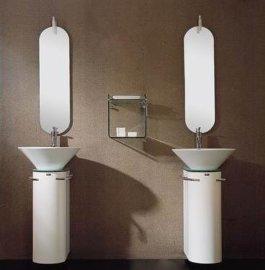 現代時尚雙盆PVC洗手盆衛浴櫃帶玻璃層架 FS014D